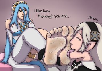 Corrin Licking Azura's Soles (Request) by TobyMcDee