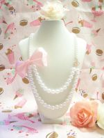 Pearl and Pink Bow Necklace by lessthan3chrissy