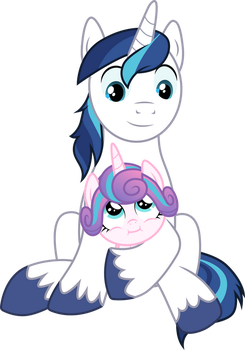 Shining Armor holding Flurry Heart by CloudyGlow