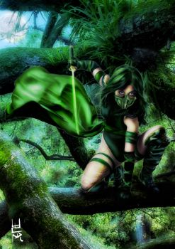 Green Ninja General For Musha Shugyo  Ninja Saga   by eventorizon