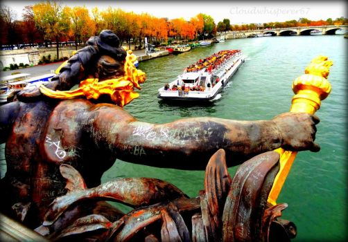From the Edge of the Deep Green Seine (Paris) by Cloudwhisperer67