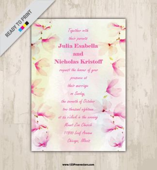 Watercolor Floral Wedding Invitation Card Free by 123freevectors