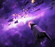 Space Battle in Purple by DeepChrome