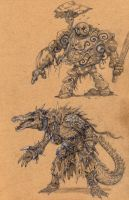 Crocoman and golem by eoghankerrigan
