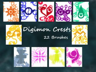 Digimon Crests Photoshop Brushes UPDATED by NelaNequin