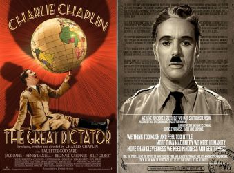 Charlie Chaplins The Great Dictator Movie Post ed by retroreloads