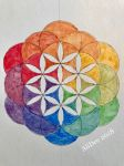 Sumi Ink Rainbow Flower of Life by AliDee33