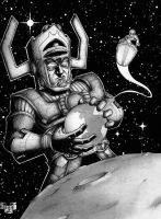 Galactus And The Silver Surfer by sblanda
