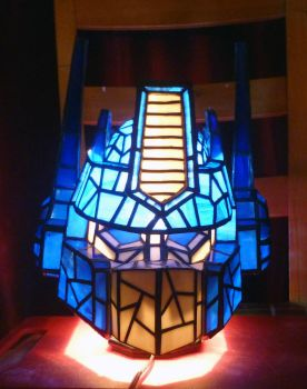 Optimus Prime Stained Glass Helmet Desk Lamp Front by mclanesmemories