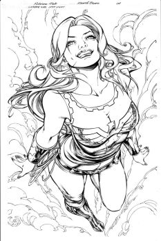 Wonder Girl Page 01 Inks by Mariah-Benes