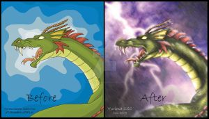 -Dragon, before and after- by Agente00Minina