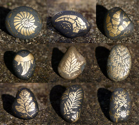 Painted Fossil Rock Magnets - Plants + Imprints by KiRAWRa