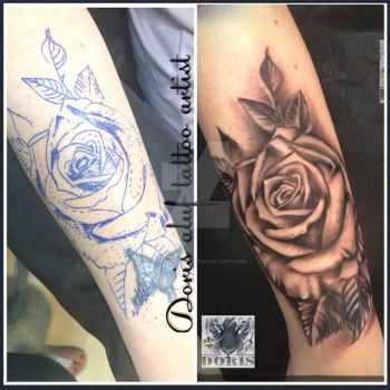 rose arm tattoo cover up by doristattoo