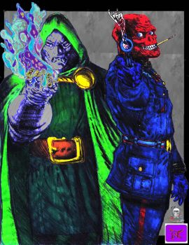Dr Doom Red Skull   colab by CDL113