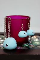 Polymer Clay Whale Necklace and Earring Set by jessiNJ