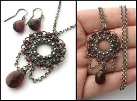 silver garnet set by annie-jewelry