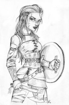 Female Viking Warrior by Dinoforce