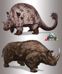 Ark-Doedicerus-and-Whooly-Rhino-Final by Davesrightmind