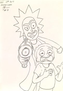 Inktober~No.8: Rick and Morty by Kassanovas