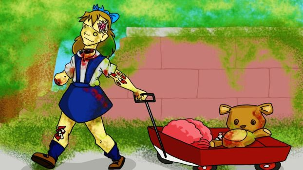 A Zombie and Her Little Red Wagon by mmheredith