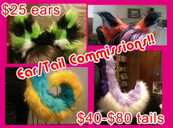 Ear and Tail Commissions! by KittyWolfCreations