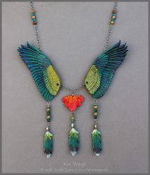 Kea Wings - Leather Necklace by windfalcon