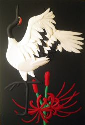 Japanese crane and Red spider lily by Aresu-san