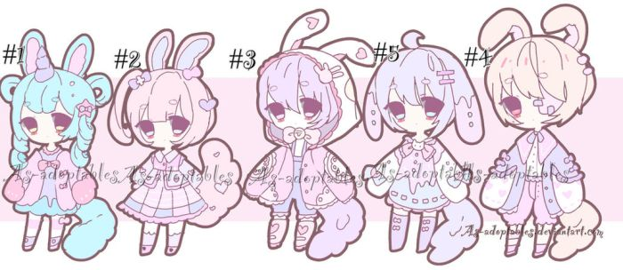 sweet bunny adoptable batch open by AS-Adoptables