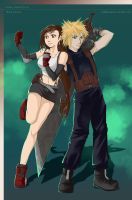 FINAL FANTASY VII Tifa and Cloud by CoffeeCat-J
