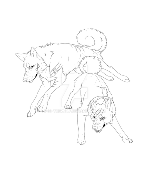 Riki and Gin lineart WIP by 39-TheWolf