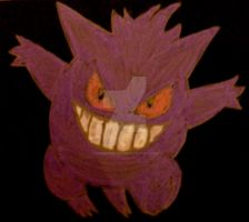 Drawn on Black: Gengar by InkArtWriter