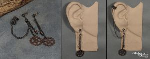 Copper steampunk tiny ear cuff with post earrings by bodaszilvia