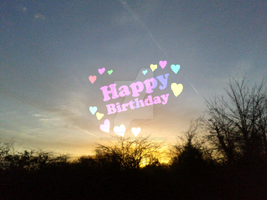 Sunset with Happy Birthday on edit by blackroselover