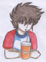 seiya drinks soda by Maoden-DOis