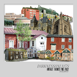 Vintage Buildings PNG Pack by DarknessOnly13