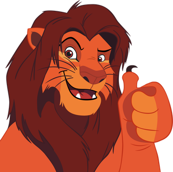 Adult Simba thumbs up - vector by CrusierPL