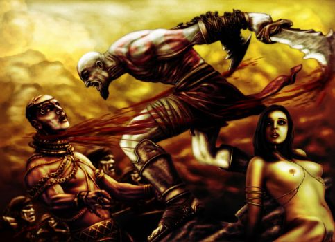 Kratos VS Xerxes by fromthedead