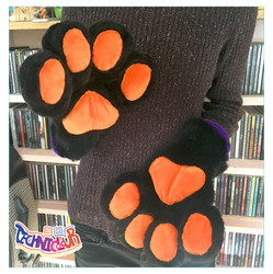 (FOR SALE) Black Handpaws With Orange Pawpads by TECHNlCOLOUR