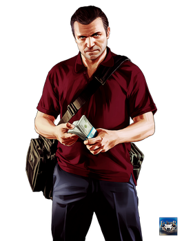 Grand Theft Auto V Michael with Money 4K Render by eduard2009