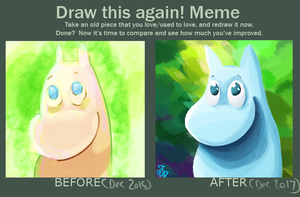 Draw This Again! [MEME] - Moomintroll by NebulaDreams