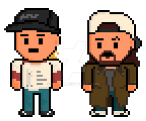 Clerks Pixel Jay and Silent Bob in Color by gkillerb