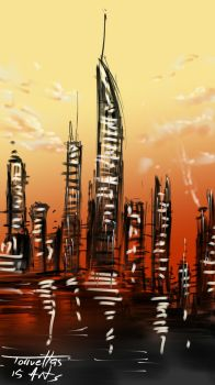 City scape at sunset by Torruellas arts by TorruellasArts