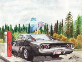 1968 Dodge Charger At The Esso by FastLaneIllustration