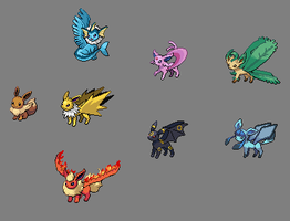 PS: Winged Eeveelutions by ZMurcielago