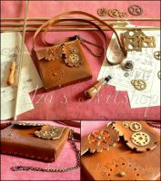 Steampunk Leather Pouch VIII by izasartshop