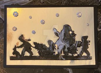 Santa Parade Acrylic Pour on Shiny Silver by JEBoylston