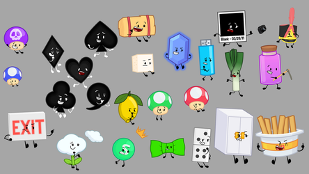 My Characters in the og BFDI Style by MinunButPichu