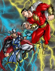 the battle in the heavens: Thor vs Captain marvel by richrow