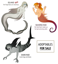 Adoptable mermaids - 2 LEFT by JWiesner