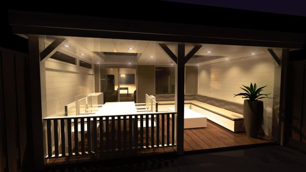 3Ds Max Porch design at night by colinbarnes